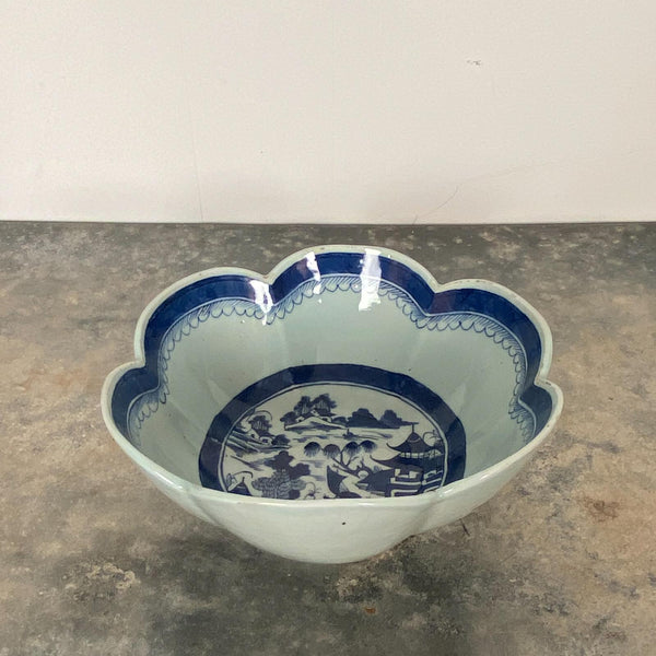 Blue & White Scalloped Bowl, China Circa 1870