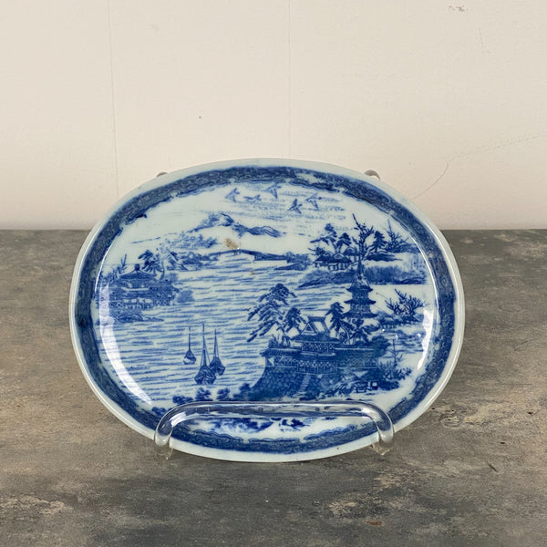 Vintage Blue and White Oval Dish, Circa 1980