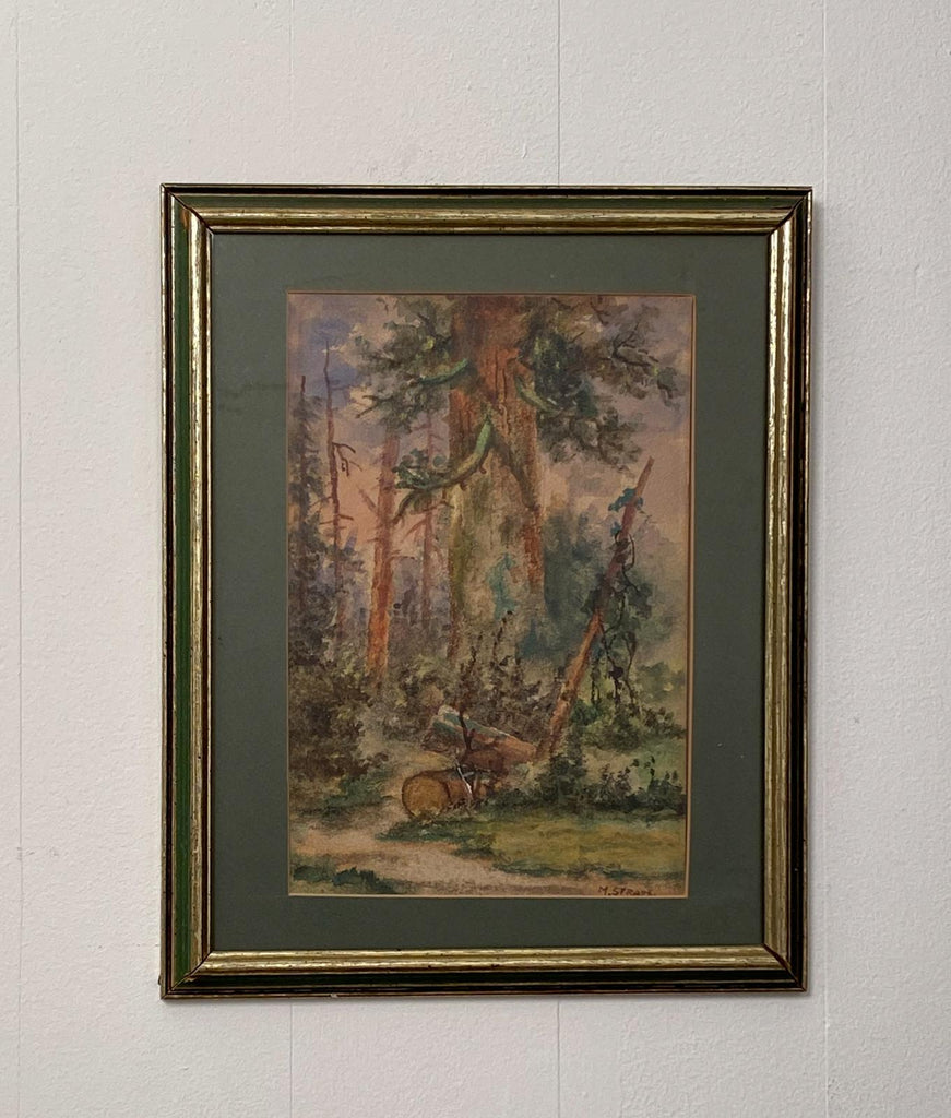 Watercolor of a Forest Scene by Meyer Straus, American 19th Century