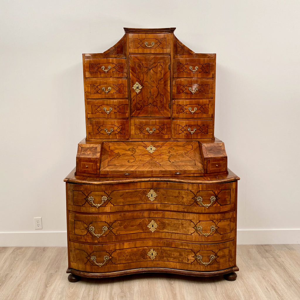 Northern Italian Secretary Baroque Period Inlaid Walnut Circa 1730