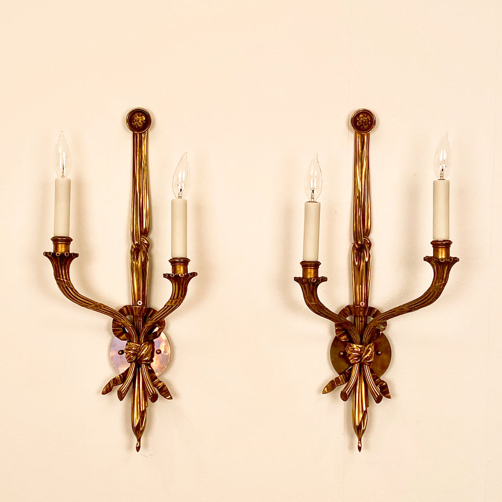 French Louis XVI Style Gilt Bronze Sconces Wired for Lighting, Circa 1870