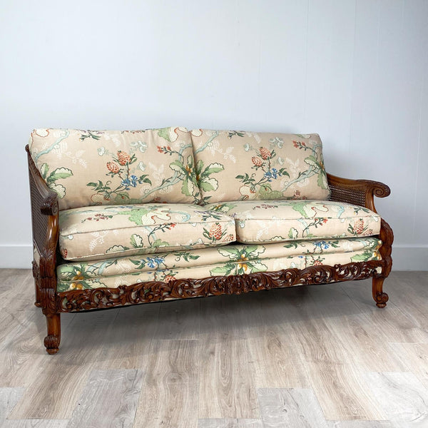 Carved Fruit Wood Love Seat, Switzerland Circa 1920