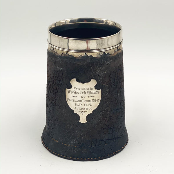 Leather Tankard with Silver Mounts, American