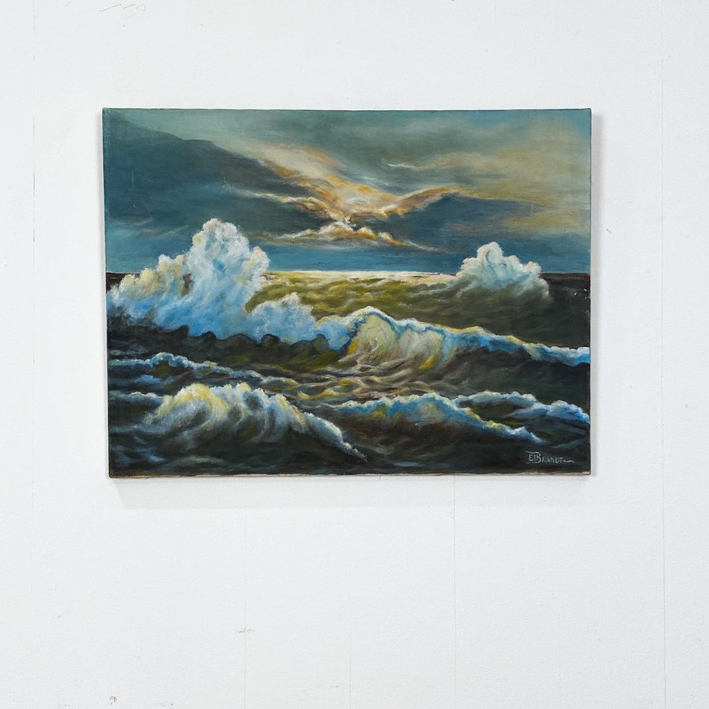20th Century Oil on Canvas of Ocean Waves