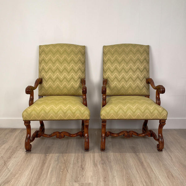 Circa 1650 Louis XIV Armchairs, France, a Pair