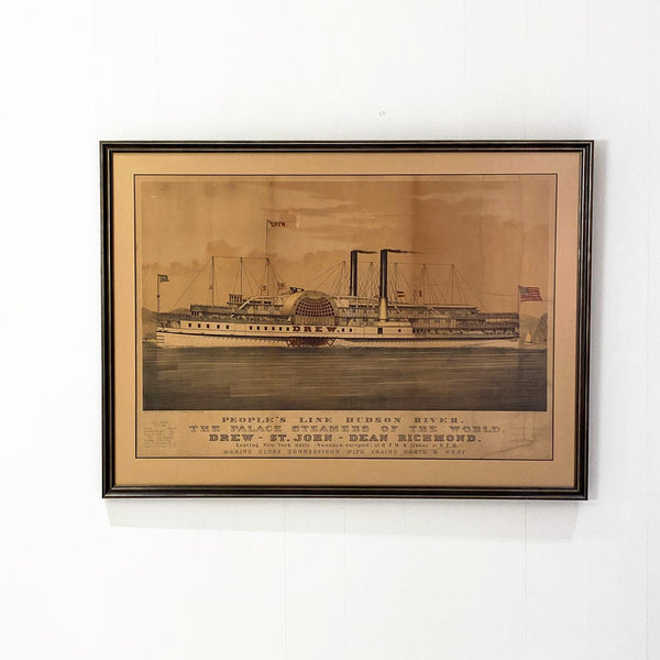 Circa 1877 Currier & Ives Lithograph of the Steam Ship Drew, American