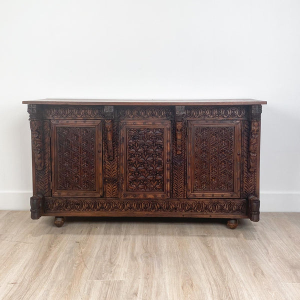 Circa 19th Century Himalayan Carved Cabinet