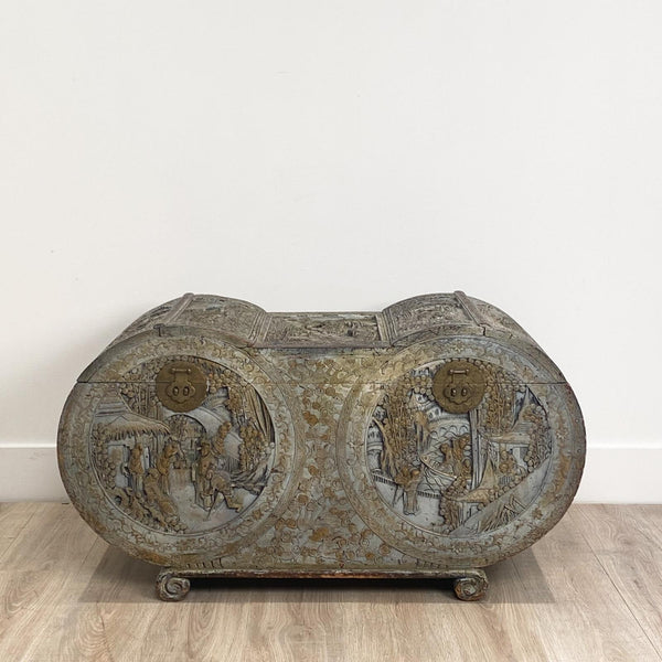Circa 1880 Carved Camphor Trunk, China