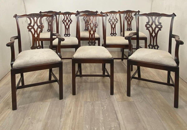 Circa 1900 Set of 8 Chippendale Style Dining Chairs, England