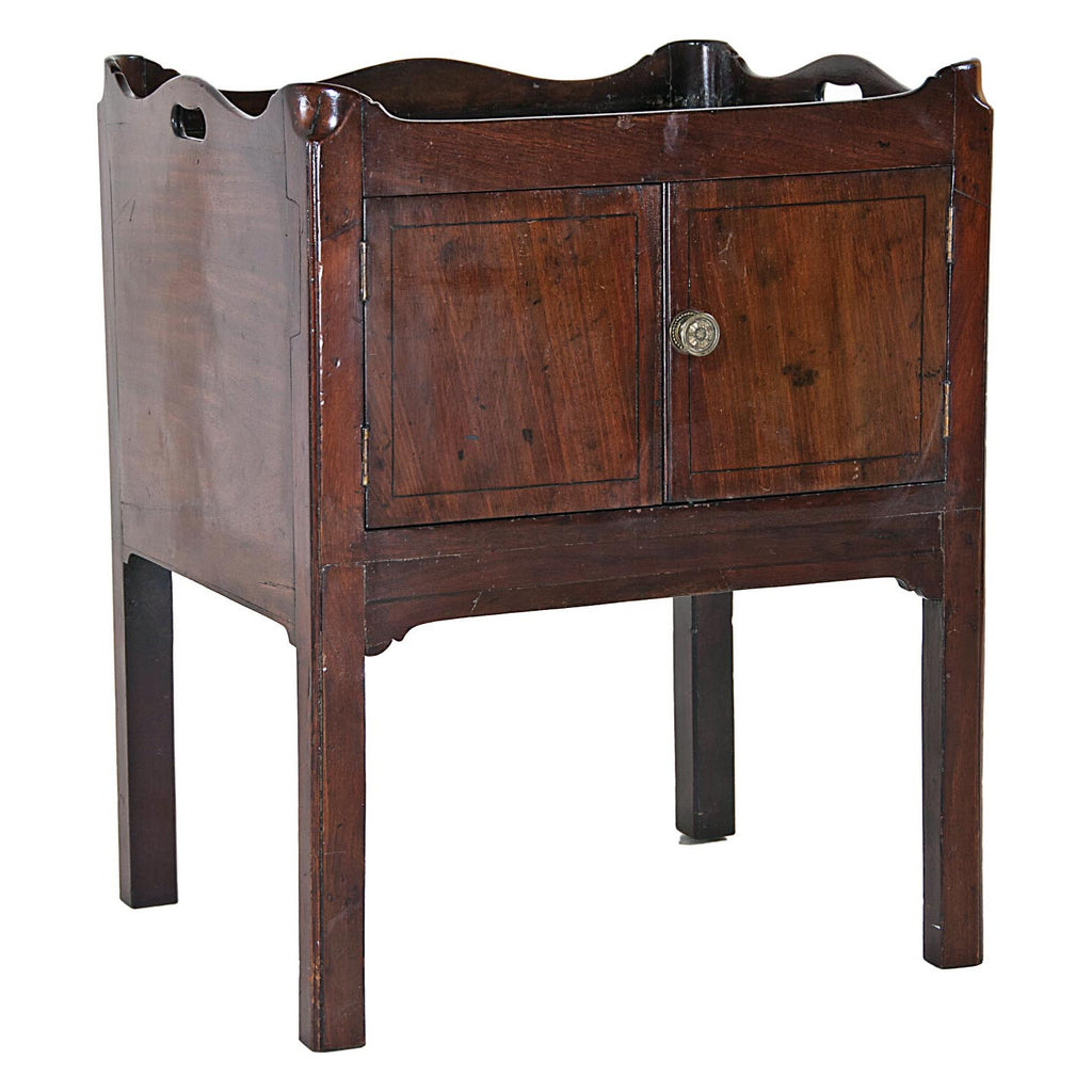 George III Mahogany Bedside Table and Cupboard, England circa 1860.