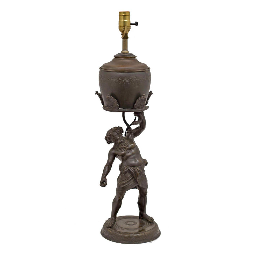 Grand Tour Bronze Figure of Silenius as an Oil Lamp, circa 1880 Italy