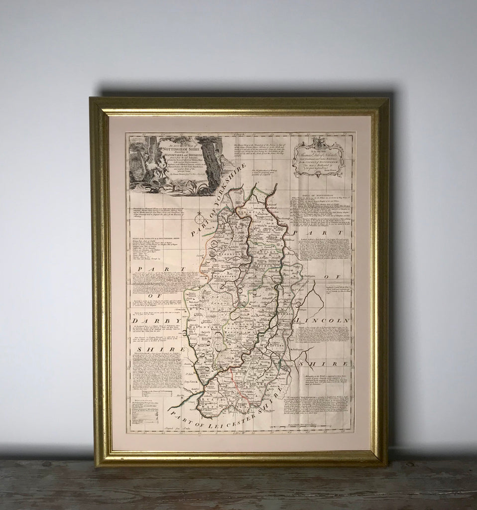 Map - Nottingham Shire, England from 1780