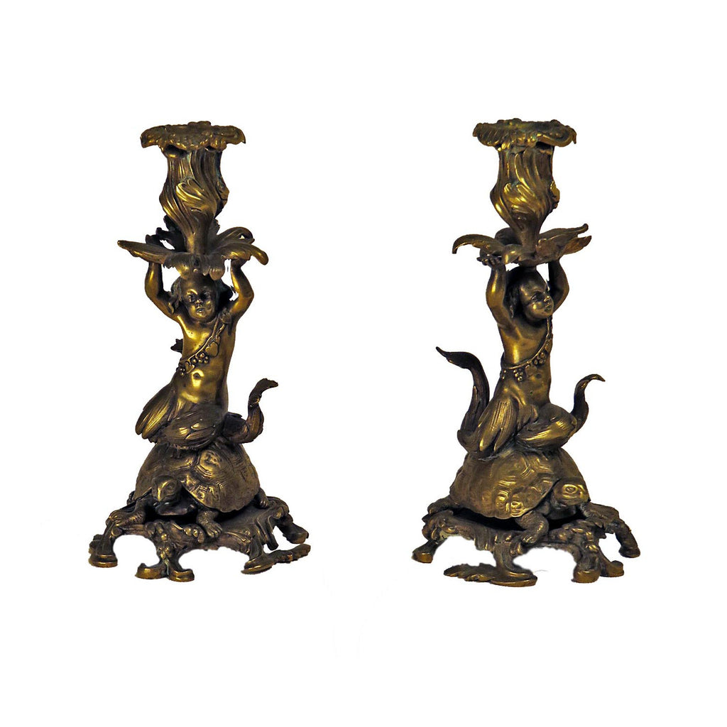 Rare Pair of French Bronze Candlesticks of a Sea Nymph Riding a Turtle, circa 1840