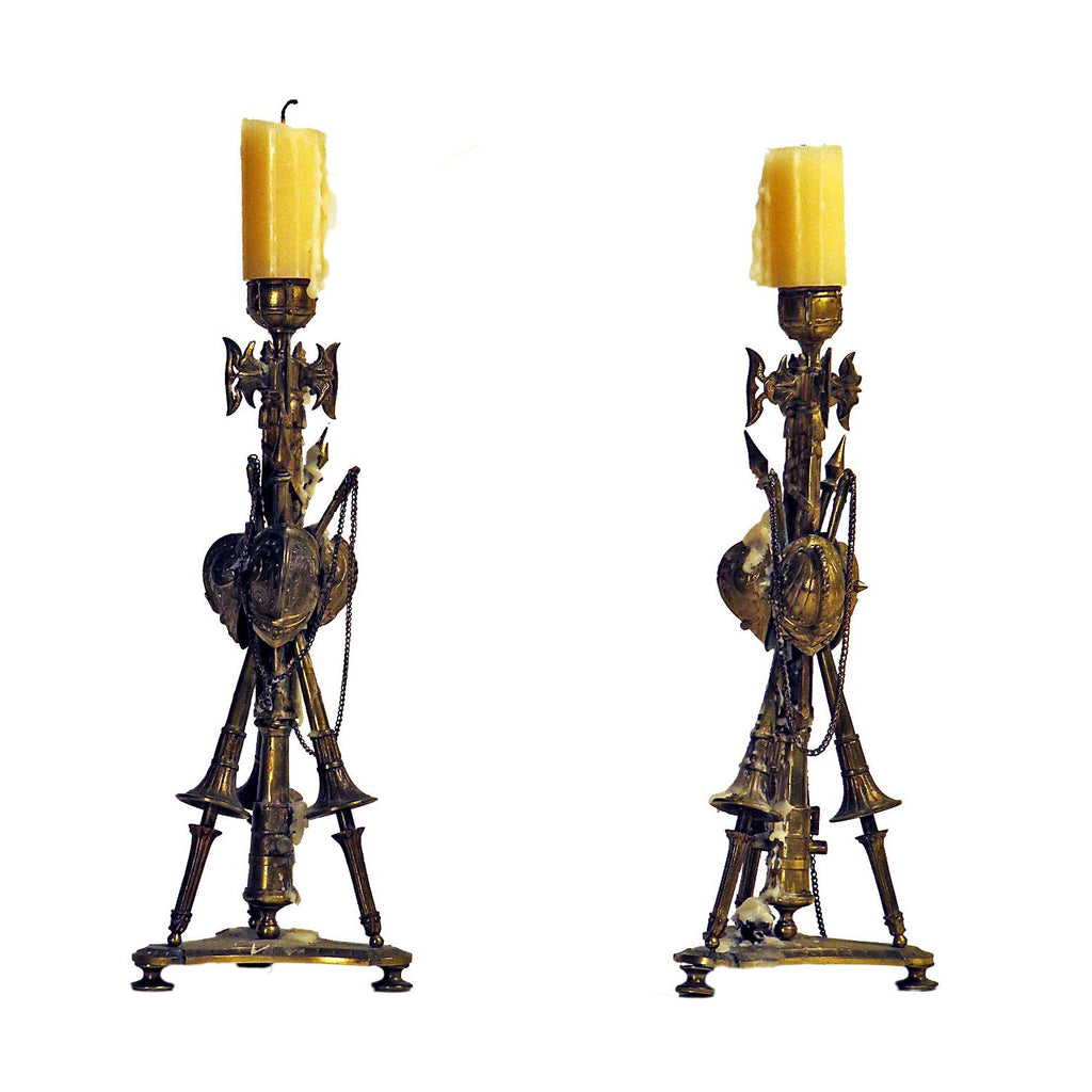 French Pair of Gilt Military Trophy Candlesticks circa 1850