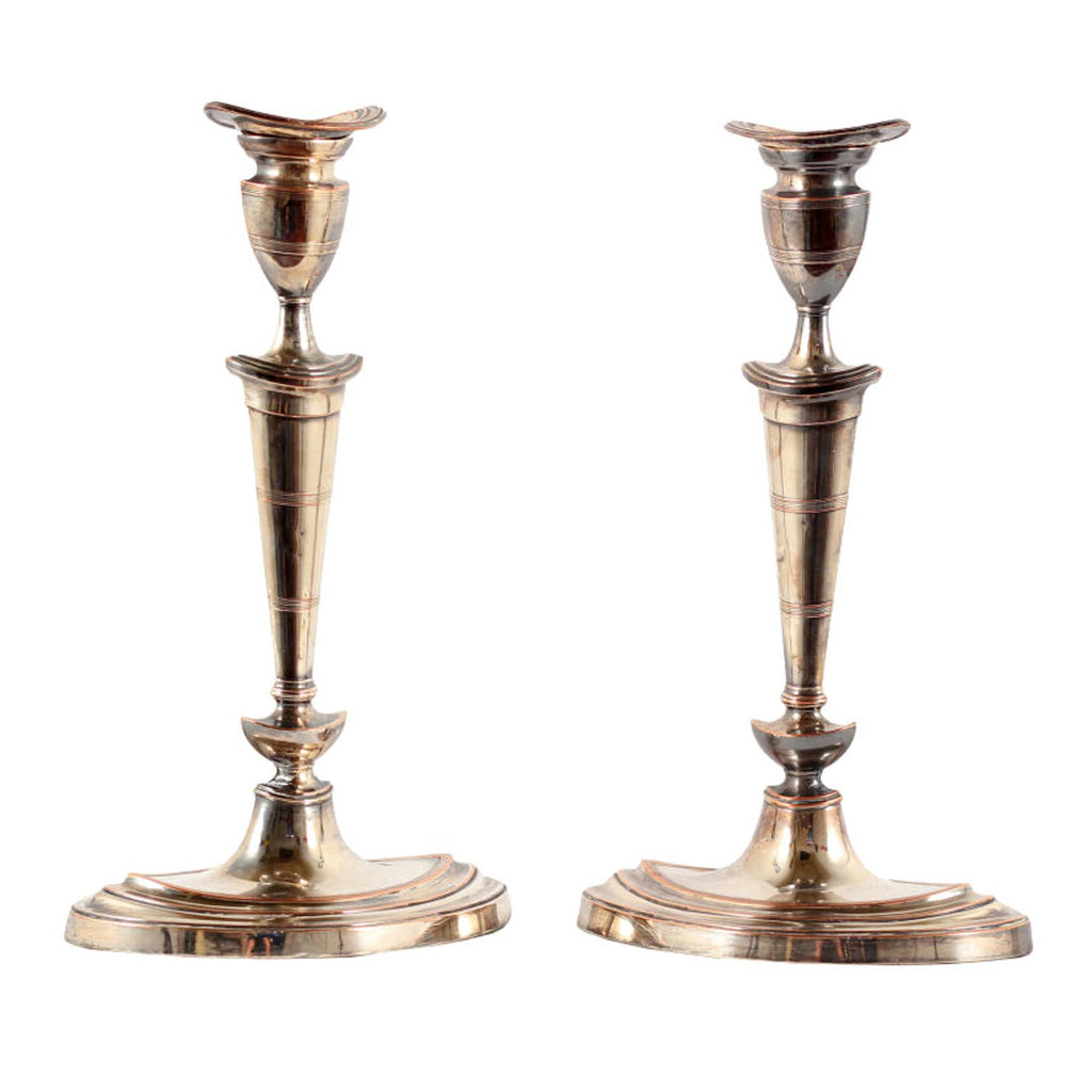 Classic Pair of Early 19th Century Sheffield Plate Candlesticks, England