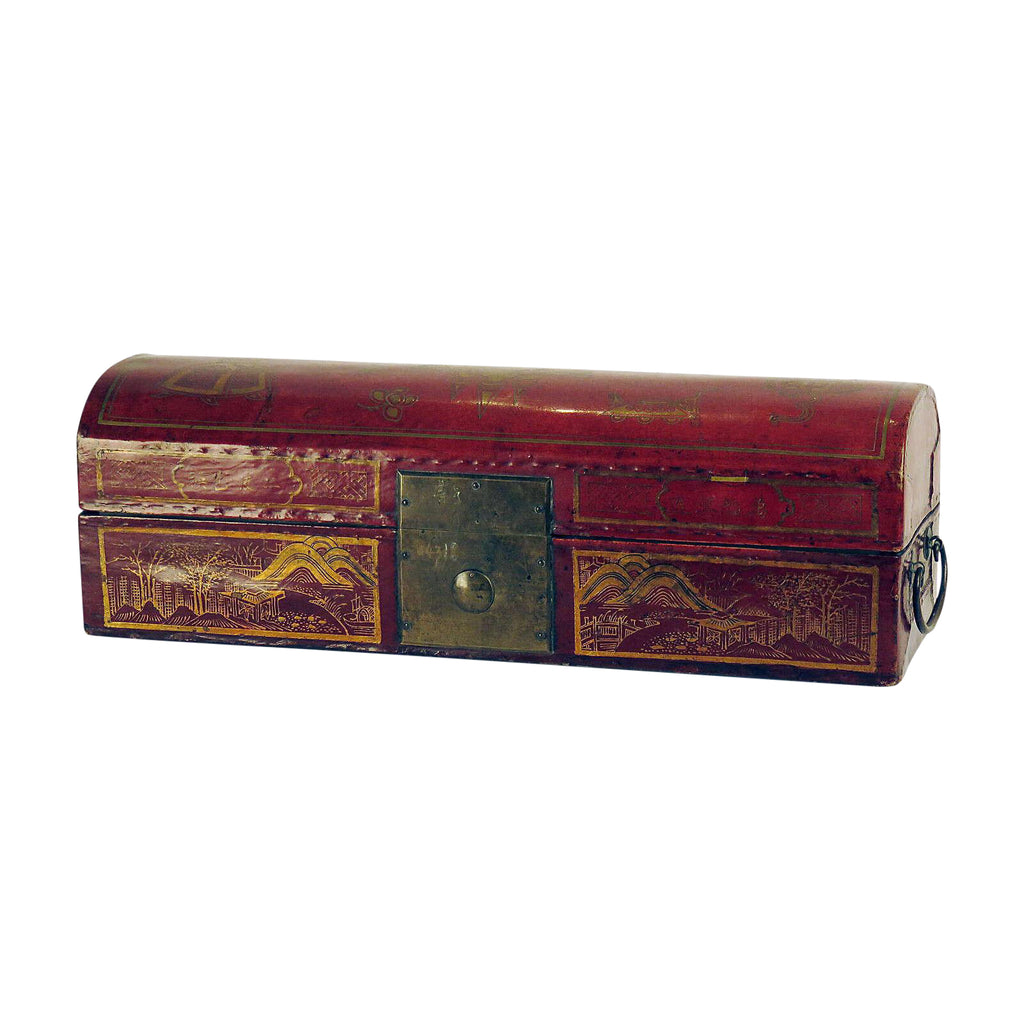 Leather & Red Lacquer Domed Box, Chinese Circa 1870