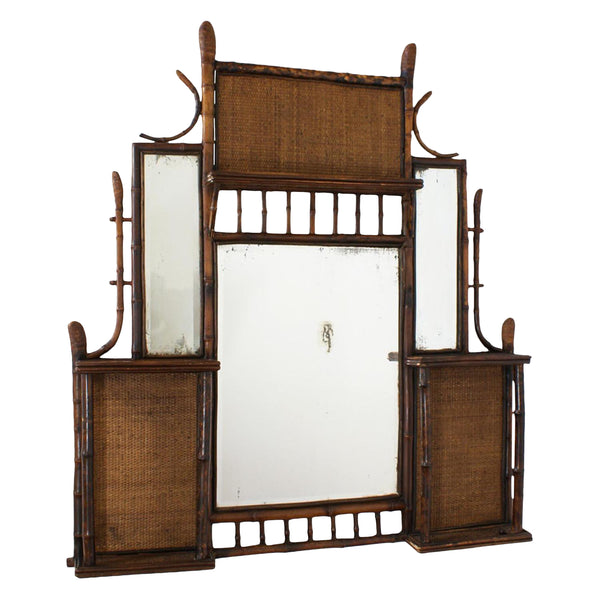 Late 19th Century Tortoise Bamboo Mirror & Shelf