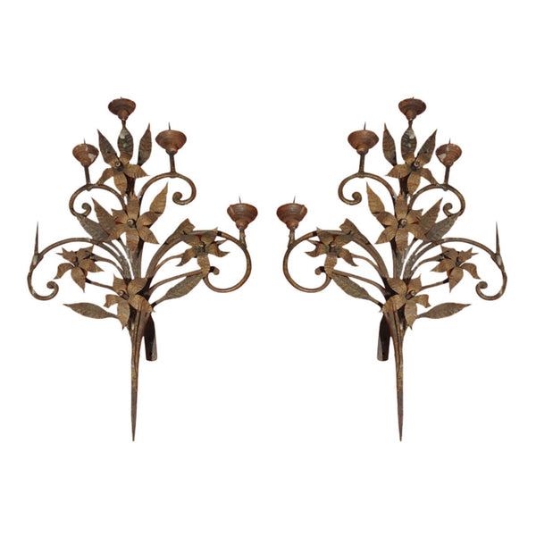 Pair of 19th century Spanish Wrought Iron Sconces with gilt.