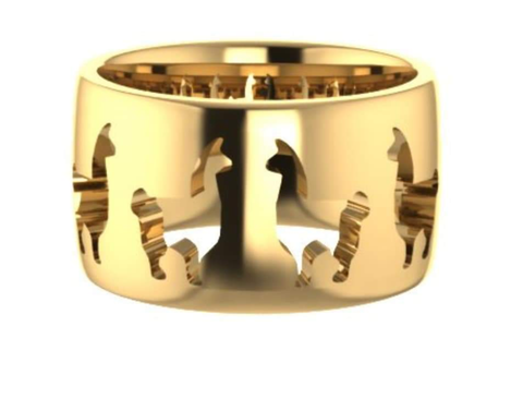 computer rending of Llama icon ring