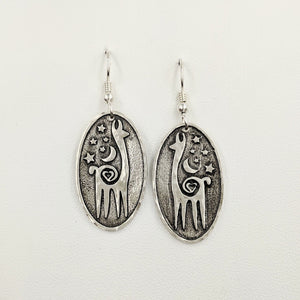 Alpaca or Llama Celestial Oval Earrings - Hammered rims  sterling silver on French wires