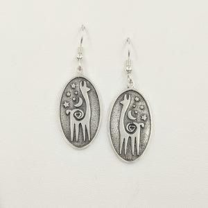 Alpaca or Llama Celestial Oval Earrings - Smooth rims Sterling silver on French wires