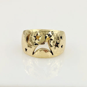 Alpaca or Llama Celestial Spirit Cigar Style Ring Wide 12MM  Hammered finish 14K Yellow Gold