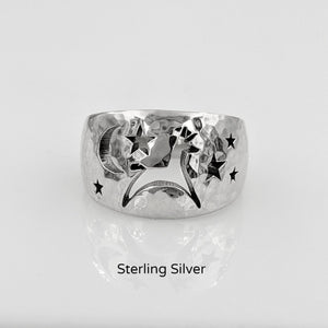 Alpaca or Llama Celestial Spirit Cigar Style Ring Wide 12MM  Hammered finish Sterling Silver
