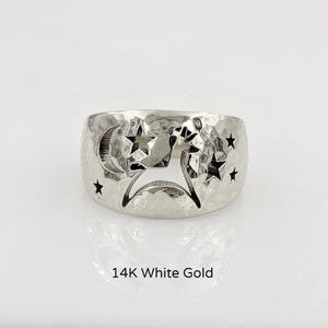Alpaca or Llama Celestial Spirit Cigar Style Ring Wide 12MM  Hammered finish 14K White Gold