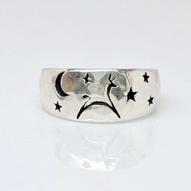 Alpaca or Llama Celestial Spirit Cigar Style Ring Narrow 10MM - Smooth finish Sterling Silver