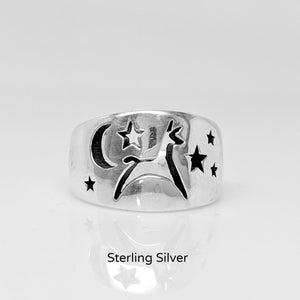 Alpaca or Llama Celestial Spirit Cigar Style Ring Wide 12MM  Smooth finish Sterling Silver