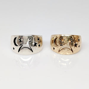 Alpaca or Llama Celestial Spirit Cigar Style Ring Wide 12MM  Hammered finish 14K Yellow Gold and Sterling silver smooth finish
