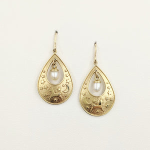 Alpaca or Llama Celestial Spirit Earrings - 14K Yellow Gold with white freshwater pearl dangle on French wires