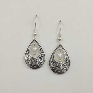 Alpaca or Llama Celestial Spirit Earrings - Sterling Silver with white freshwater pearl dangle on French wires