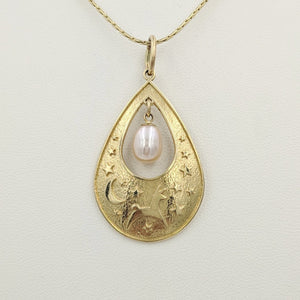 Alpaca or Llama Celestial Spirit Teardrop Pendant with Pearl  14K Yellow Gold with white freshwater pearl dangle