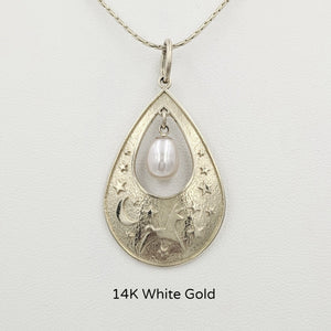 Alpaca or Llama Celestial Spirit Teardrop Pendant with Pearl  14K White Gold with white freshwater pearl dangle