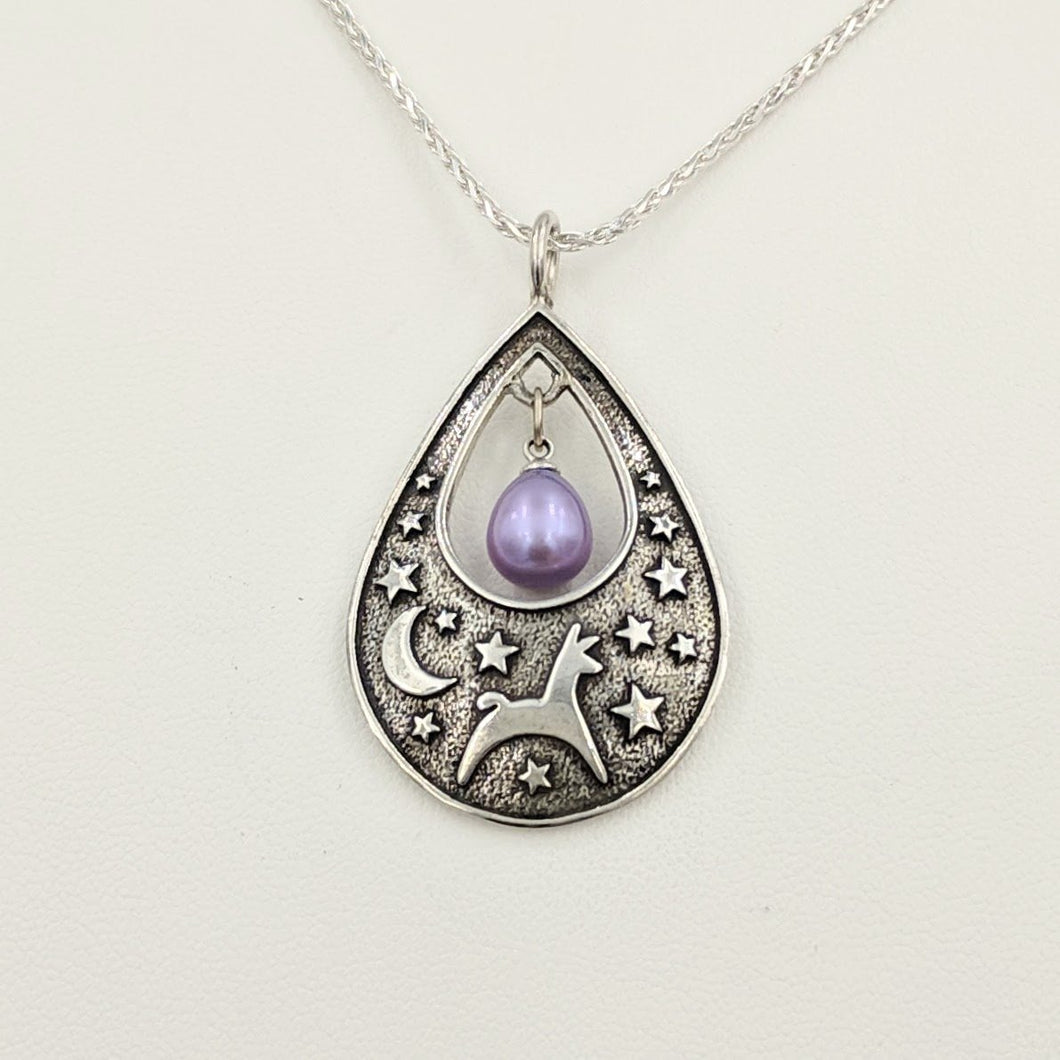 Alpaca or Llama Celestial Spirit Teardrop Pendant with Pearl  Sterling Silver with raven freshwater pearl dangle
