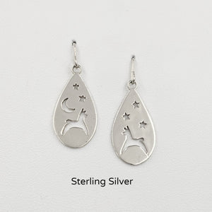 Alpaca or Llama Celestial Teardrop Earrings  smooth finish on French wires Sterling Silver