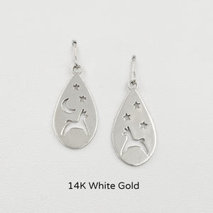 Alpaca or Llama Celestial Teardrop Earrings  smooth finish on French wires 14K White Gold