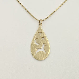 Alpaca or Llama Celestial Teardrop Pendants hammered finish  14K Yellow Gold