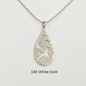Alpaca or Llama Celestial Teardrop Pendants hammered finish  14K White Gold