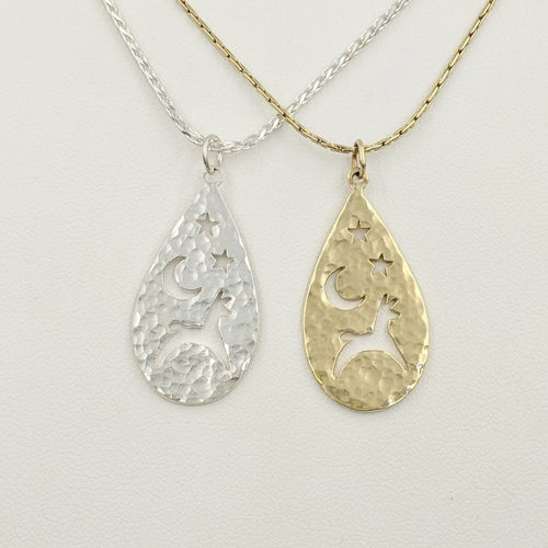Alpaca or Llama Celestial Teardrop Pendants hammered finish  Sterling Silver  14K Yellow Gold