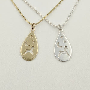 Alpaca or Llama Celestial Teardrop Pendants smooth finish  Sterling Silver  14K Yellow Gold