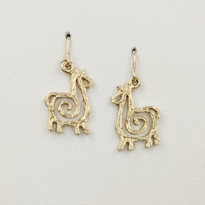 Alpaca or Llama Compact Spiral Earrings - French Wires; 14K Yellow Gold