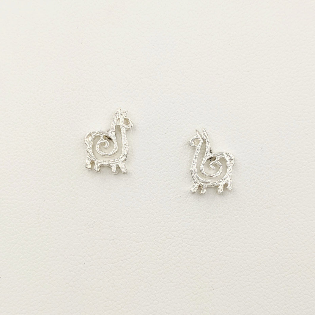 Alpaca or Llama Compact Spiral Earrings - Posts; Sterling Silver