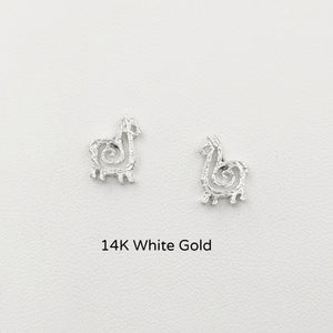 Alpaca or Llama Compact Spiral Earrings - Posts; 14K White Gold
