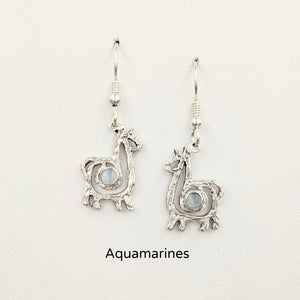 Alpaca or Llama Compact Spiral  Earrings with Aquamarine Gemstones - Sterling Silver on French Wires