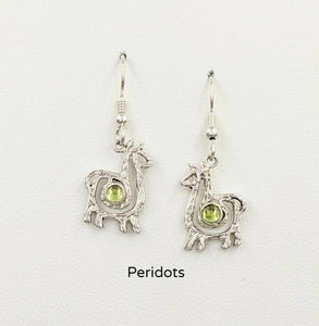 Alpaca or Llama Compact Spiral  Earrings with Peridot Gemstones - Sterling Silver on French Wires