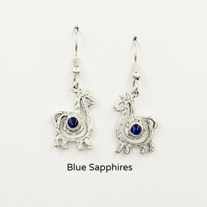 Alpaca or Llama Compact Spiral  Earrings with Blue Sapphire Gemstones - Sterling Silver on French Wires