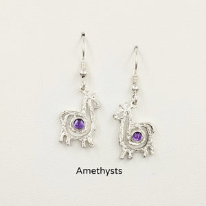 Alpaca or Llama Compact Spiral  Earrings with Amethyst Gemstones - Sterling Silver on French Wires