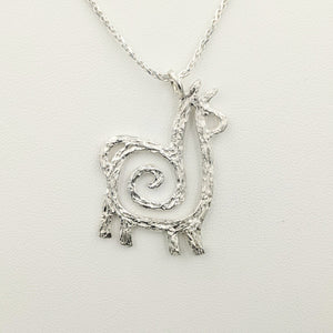 Alpaca or Llama Compact Spiral Pendant - Sterling Silver